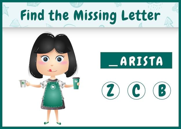 Edukacyjna gra ortograficzna dla dzieci, która znajduje brakujące litery z uroczą baristką