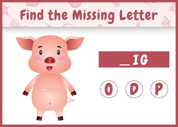 Edukacyjna gra ortograficzna dla dzieci, która znajduje brakujące litery z uroczą świnią