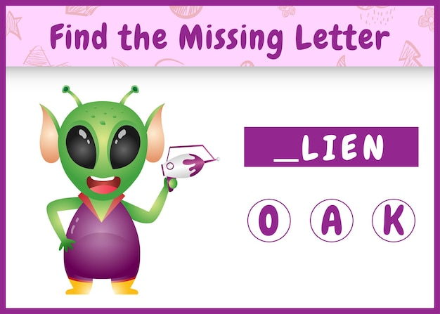 Edukacyjna gra ortograficzna dla dzieci, znajdująca brakującą literę z uroczym kosmitą