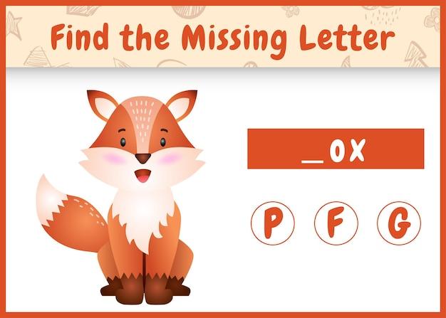Edukacyjna gra ortograficzna dla dzieci, znajdująca brakujące litery z uroczym lisem