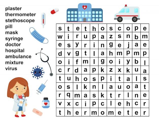 Edukacyjna gra wyszukiwania słów. krzyżówka dla dzieci. narzędzia opieki zdrowotnej i medycyny.