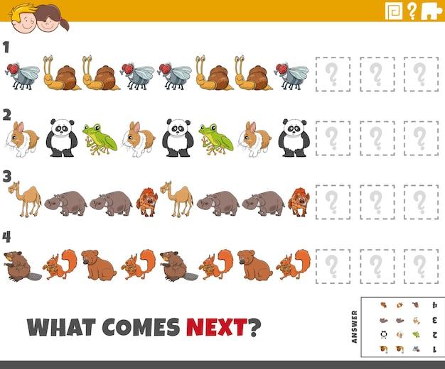 Edukacyjna gra wzorcowa dla dzieci ze zwierzętami kreskówek