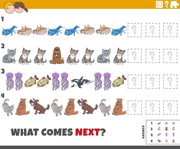 Edukacyjna gra wzornicza dla dzieci z komiksowymi zwierzętami