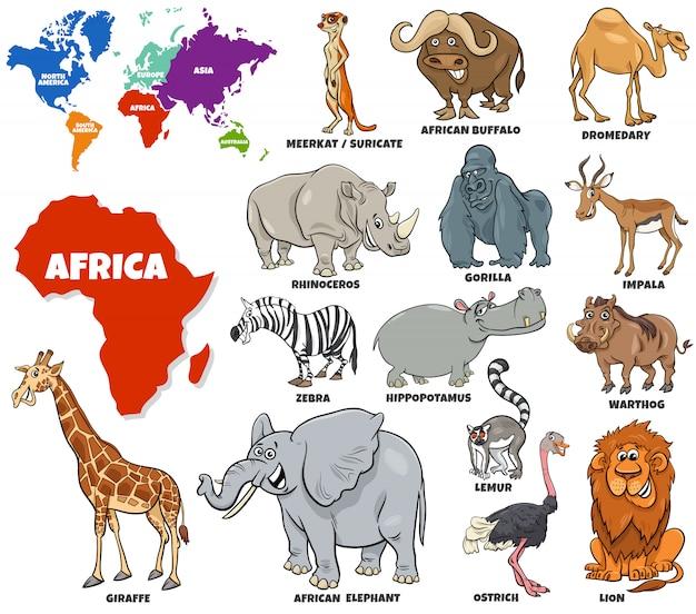Edukacyjna ilustracja ustawiający afrykańscy zwierzęta