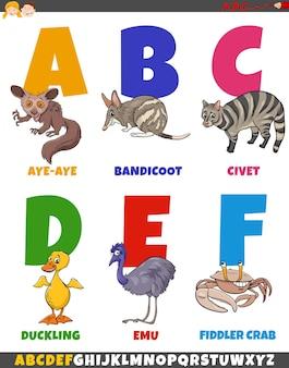 Edukacyjna kolekcja alfabetu kreskówek z komiksowymi zwierzętami