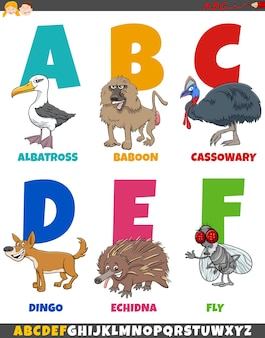 Edukacyjna kolekcja alfabetu kreskówek ze śmiesznymi zwierzętami