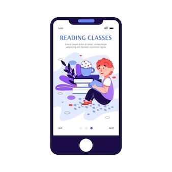 Edukacyjne dla dzieci kursy czytania aplikacja szkic ilustracja kreskówka