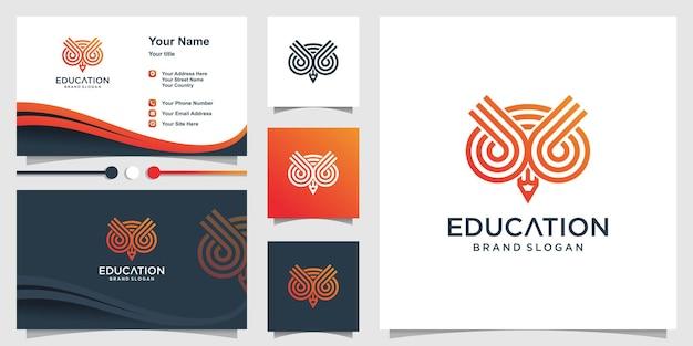 Edukacyjne logo sowy z koncepcją paski i ołówek oraz projekt wizytówki