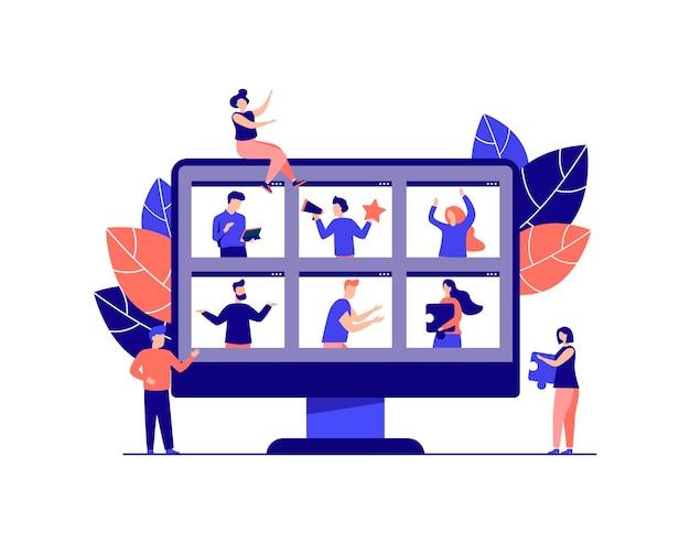 Edukacyjne webinarium cyfrowa publiczność zajęcia onlinekoncepcja nowoczesnej edukacji z nauczycielem