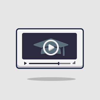 Edukacyjne wideo ikona ilustracja online. koncepcja izolowanego odtwarzacza wideo webinarium