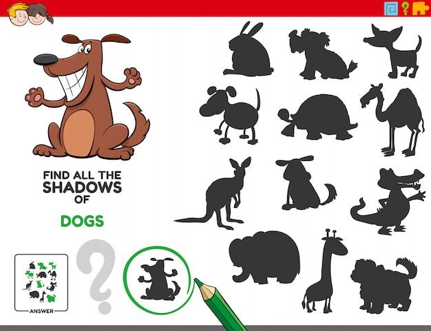 Edukacyjne zadanie cieni z psami