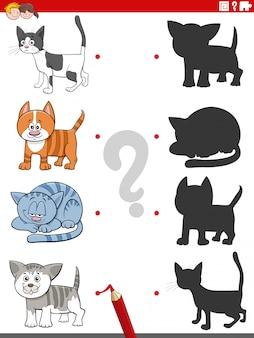 Edukacyjne zadanie cieni z zabawnymi postaciami kotów
