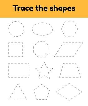 Edukacyjny arkusz kalkulacyjny dla dzieci w przedszkolu, wieku przedszkolnym i szkolnym. śledź geometryczny kształt. linie przerywane.
