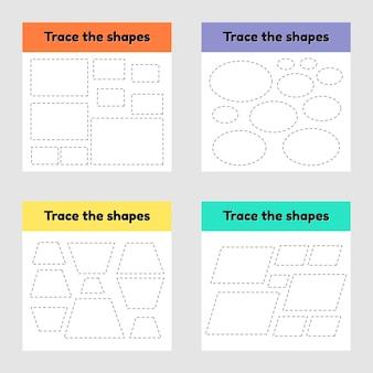 Edukacyjny arkusz kalkulacyjny dla dzieci w wieku przedszkolnym, przedszkolnym i szkolnym. śledź geometryczny kształt. linie przerywane.