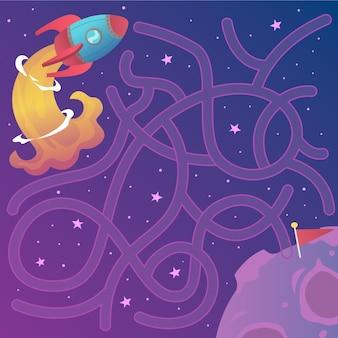 Edukacyjny labirynt dla dzieci z elementami kosmicznymi