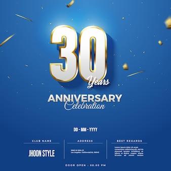 Edycja niebieskiego tła na zaproszenie na obchody 30-lecia