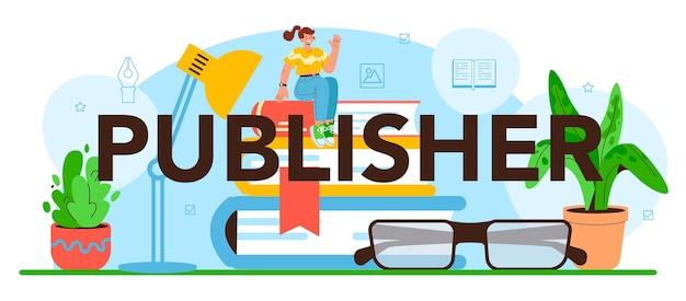 Edytor nagłówków typograficznych wydawcy pracujący nad książką