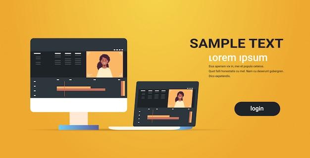 Edytor wideo monitor komputerowy z interfejsem aplikacji lub oprogramowania do edycji blogów studio projektowe koncepcja pozioma kopia przestrzeń