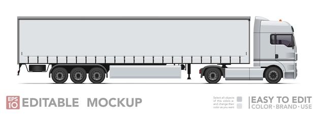 Edytowalna ciężarówka. realistyczny ciągnik i przyczepa plandeka na białym tle