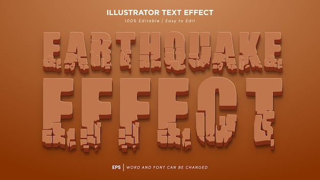Edytowalna czcionka efekt tekstowy trzęsienia ziemi