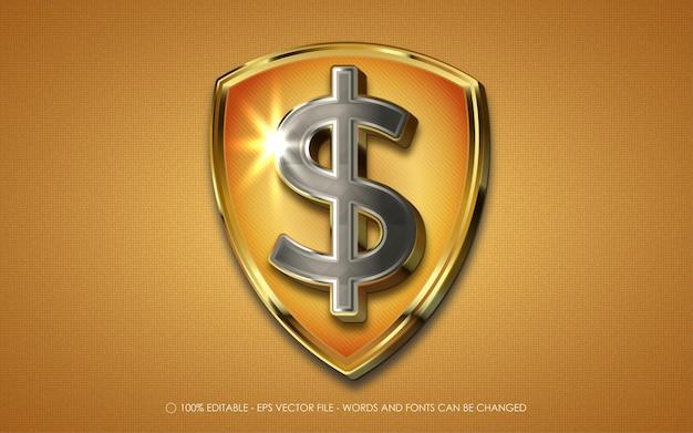 Edytowalna ikona logo znak dolara bezpieczeństwa, tarcza ze znakiem dolara
