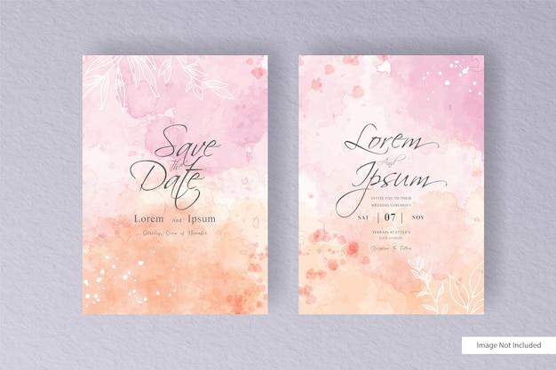 Edytowalna karta ślubna akwarela z minimalistycznym stylem i kolorową, ręcznie rysowaną płynną akwarelą