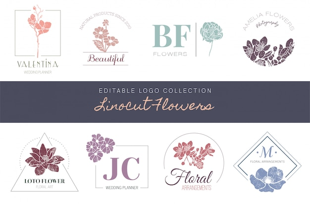 Edytowalna kolekcja logo - kwiaty linocut