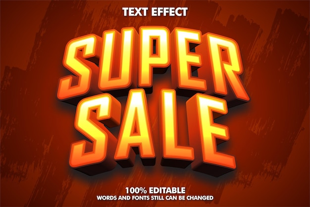 Edytowalna koncepcja naklejki 3d super sprzedaż super sprzedaż edytowalny tekst