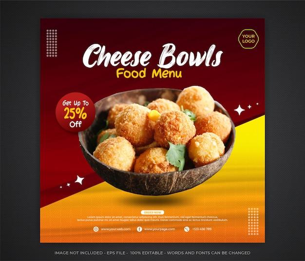 Edytowalna promocja w mediach społecznościowych żywności i szablon projektu postu banerowego