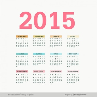 Edytowalne 2015 kalendarz wektor