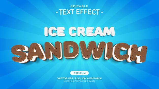 Edytowalne efekty tekstowe ice cream sandwich