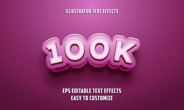 Edytowalne efekty tekstowe w stylu 100k specjalne na różowym kolorze
