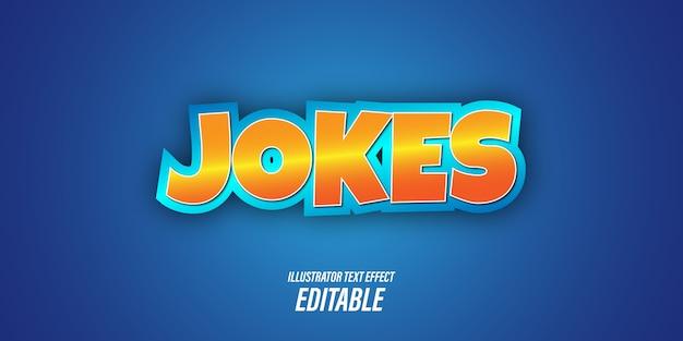 Edytowalne efekty tekstowe z niebieskim i pomarańczowym motywem zabawy i zabawy z efektami 3d