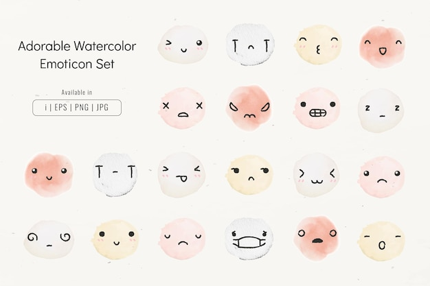 Edytowalne emotikony akwarela wektor w uroczym zestawie stylu doodleable