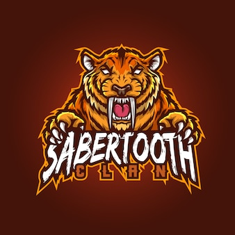 Edytowalne i konfigurowalne logo maskotki sportowej, logo esports szablozębne gry