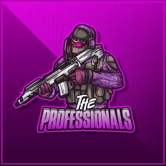 Edytowalne i konfigurowalne logo maskotki sportowej, logo esports twitch armia żołnierz wojskowy