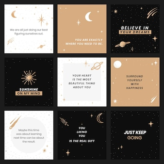 Edytowalne inspirujące cytaty zestaw szablonów społecznościowych galaktyki