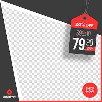 Edytowalne instagram i social media banner sprzedaży z pustym tle abstrakcyjnych