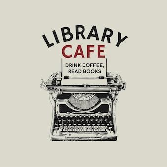 Edytowalne logo kawiarni biznesowej tożsamość korporacyjna z tekstem i maszyną do pisania w stylu retro