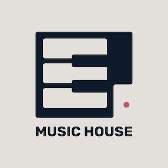 Edytowalne logo płaskiej muzyki fortepianowej