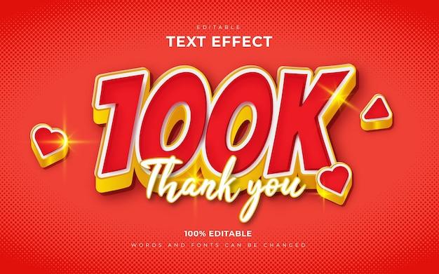 Edytowalne podziękowania 3d 100 tys. obserwujących lub subskrybentów