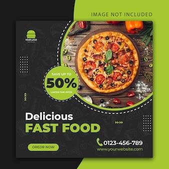 Edytowalne pyszne fast food lub restauracja social media post lub szablon banera internetowego