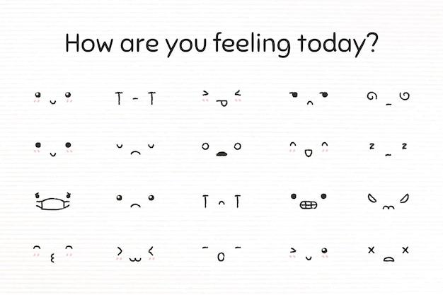 Edytowalne słodkie emotikony wektor w zestawie stylu doodle
