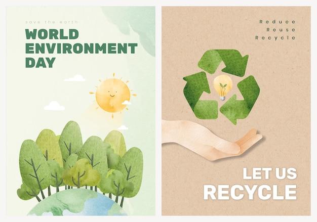 Edytowalne środowisko plakat szablon wektor w zestawie akwareli
