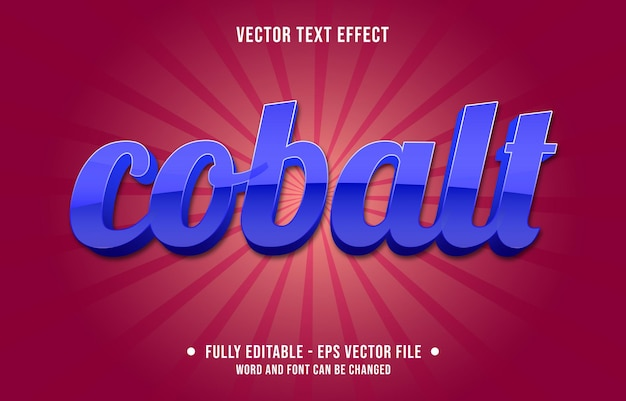 Edytowalne szablony efektów tekstowych kobaltowy niebieski kolor gradientu w nowoczesnym stylu