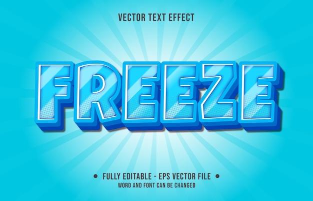 Edytowalne szablony efektów tekstowych zamrażają niebieski kolor gradientu w nowoczesnym stylu