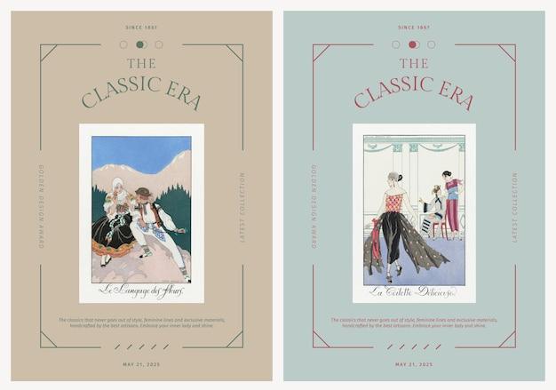 Edytowalne szablony plakatów wektorowych w stylu vintage, remiks dzieł sztuki autorstwa george'a barbier