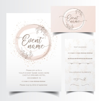 Edytowalne zaproszenie i projekt wizytówki z ręcznie rysowane dzielniki tekstu