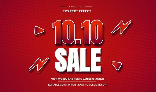 Edytowalny czerwony pogrubiony efekt tekstowy 3d promo sprzedaż 10 10