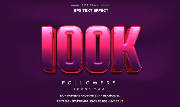 Edytowalny efekt liczbowy 100k w stylu tekstu